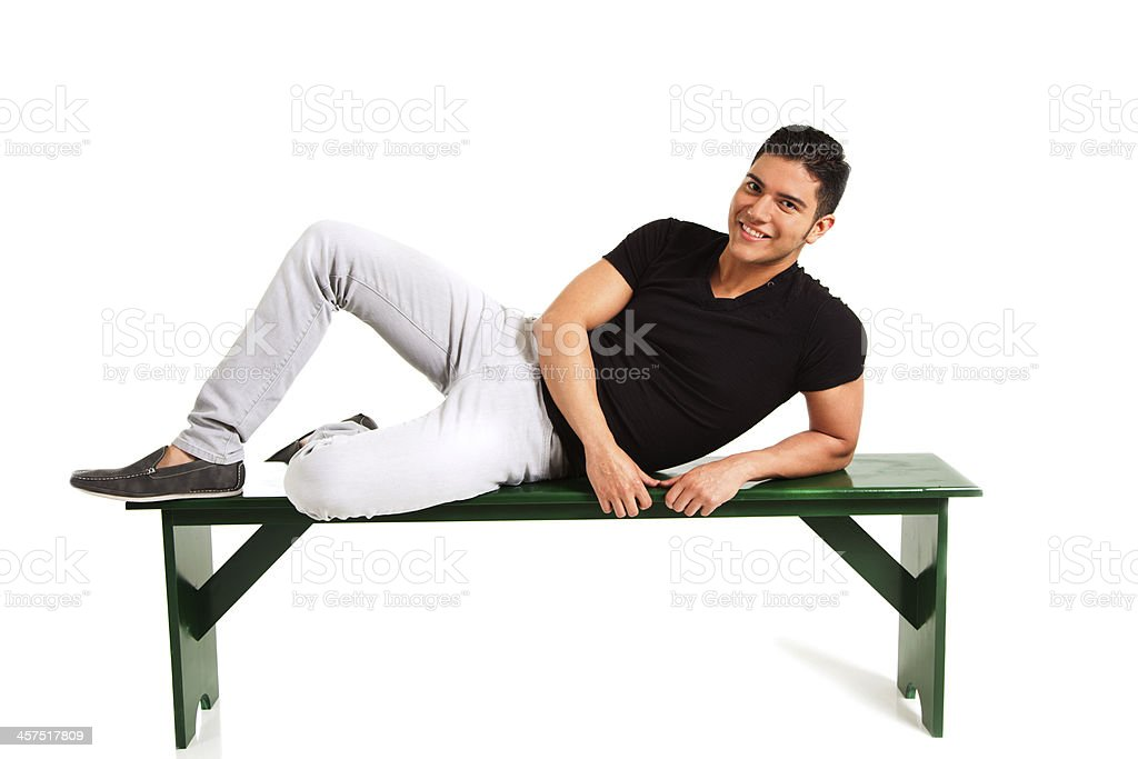 People:  Handsome Latin man on white. stock photo