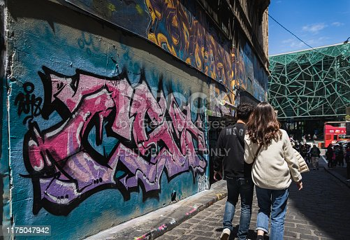 488380038 istock photo People hanging out on Hosier Lane on November 10, 2018. It's one of the tourist attraction in Melbourne to see graffiti on the wall. 1175047942