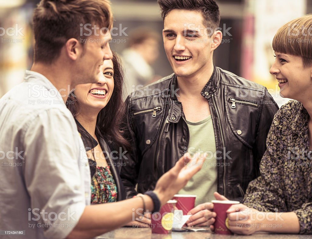 people have a break on street bar royalty-free stock photo