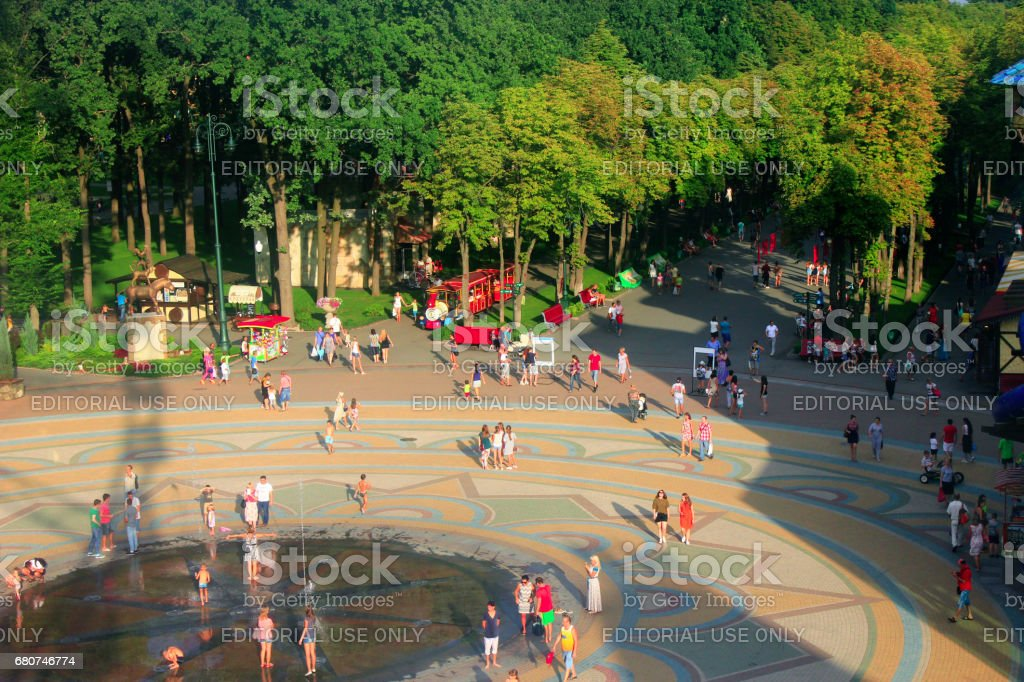 people have a rest in Gorky park in Kharkiv. Top view stock photo