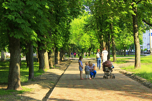 People have a rest in park with big trees