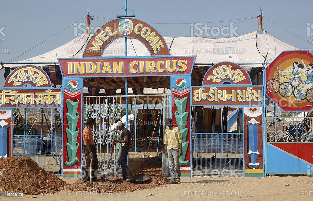 People having fun at indian circus,traditional camel fair,Pushkar royalty-free stock photo