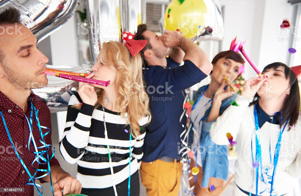 People having fun at the office party – Foto