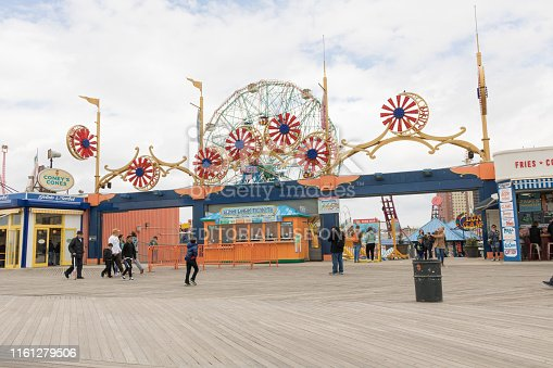 New York, USA - July 2019. Luna Park Amusement Park, located on Coney Island. Retro look, old place. View of Coney Island Park, known for the iconic Wonder Wheel of Amusement Park.