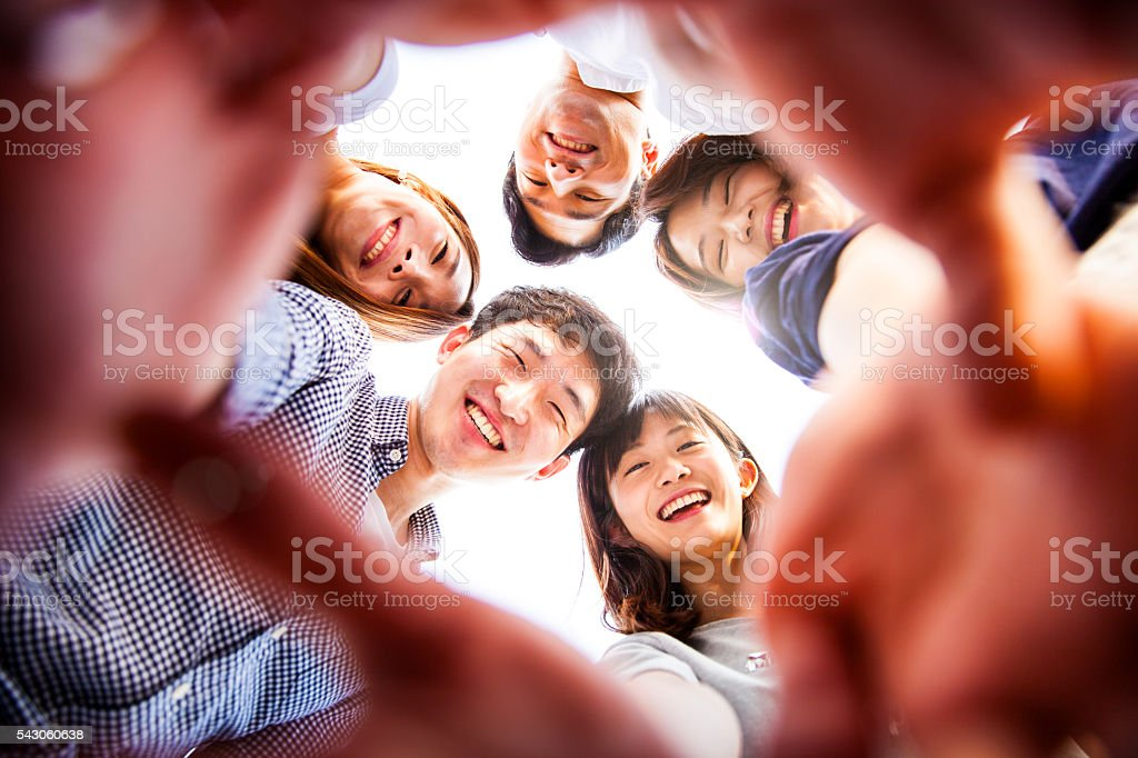 People having fun, taking a Selfie all together at party stock photo