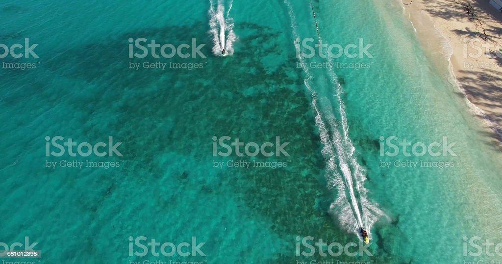 People Having fun with Jet ski, Bahamas royalty-free stock photo