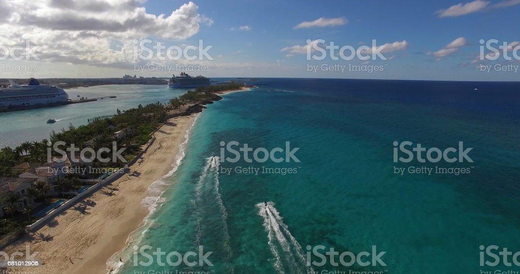 People Having fun with Jet ski, Bahamas stock photo