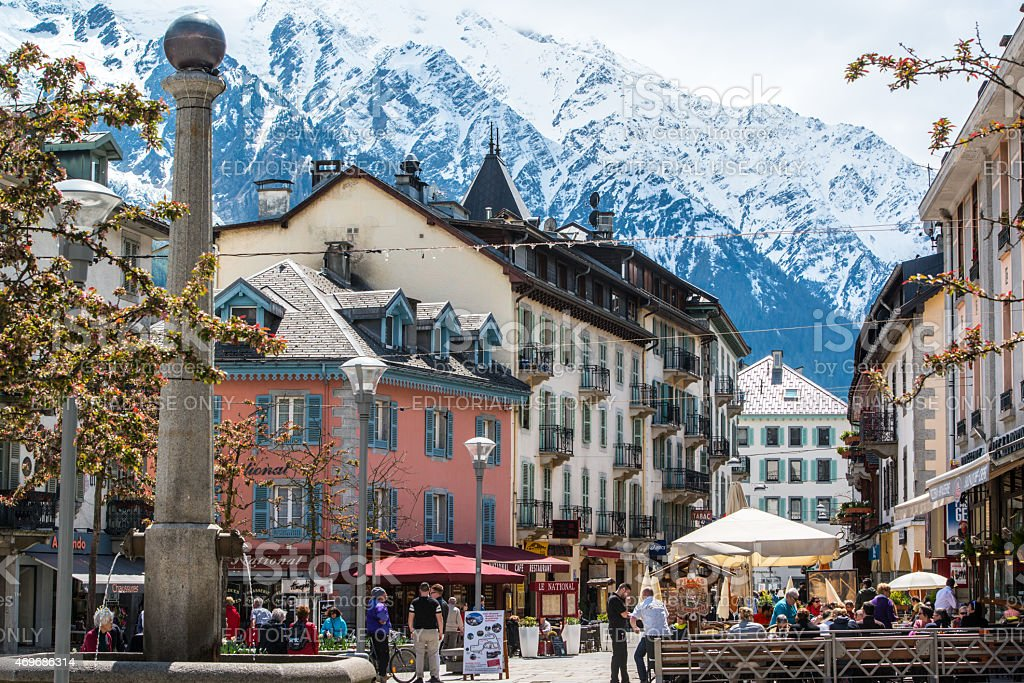 People having lunch in a cafe, Chamonix-Mont-Blanc stock photo