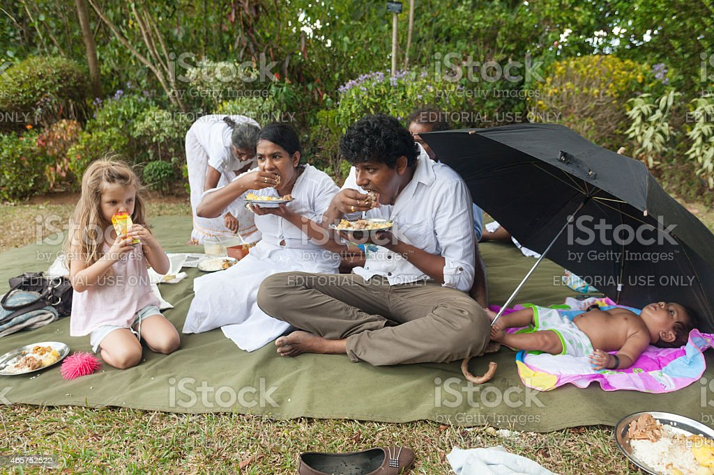 People having lunch in the Temple park. stock photo