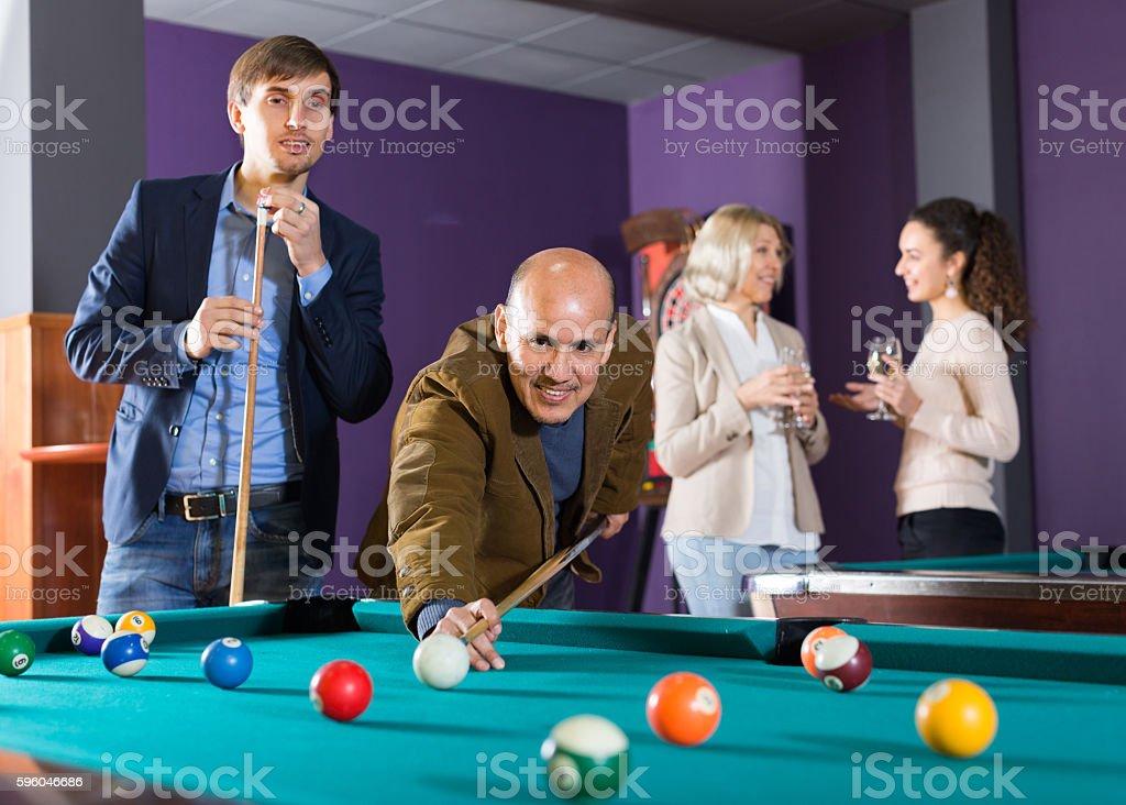 people having pool game royalty-free stock photo