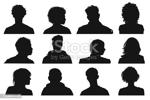 Silhouette of human heads and faces from front and side view.