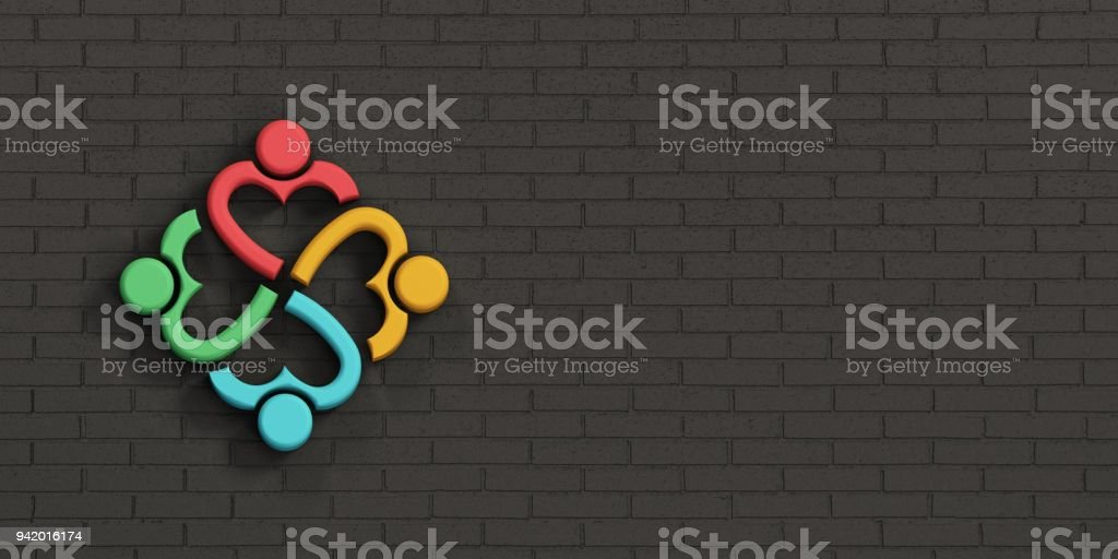 People Heart Family in Brick Black Wall. 3D Rendering Illustration stock photo