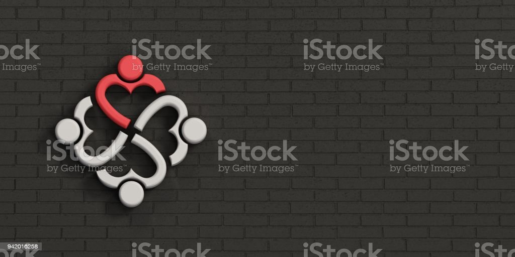 People Heart Leader in Brick Black Wall. 3D Rendering Illustration stock photo
