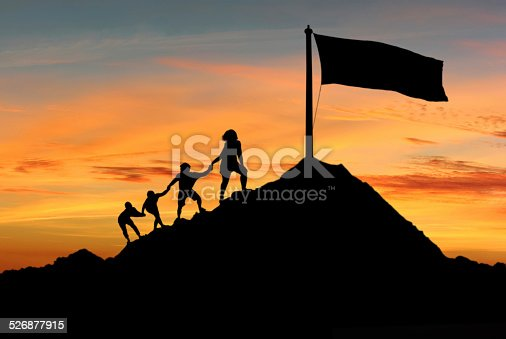 People help each other to achieve their goals, desires and aspirations concept