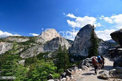 Yosemite, USA - July 8, 2015: Yosemite National Park, Hikers hiking around and climbing half dome on a sunny day