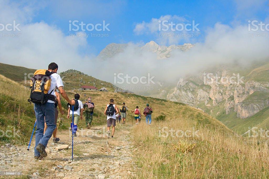 People hiking in the mountain Korab royalty-free stock photo