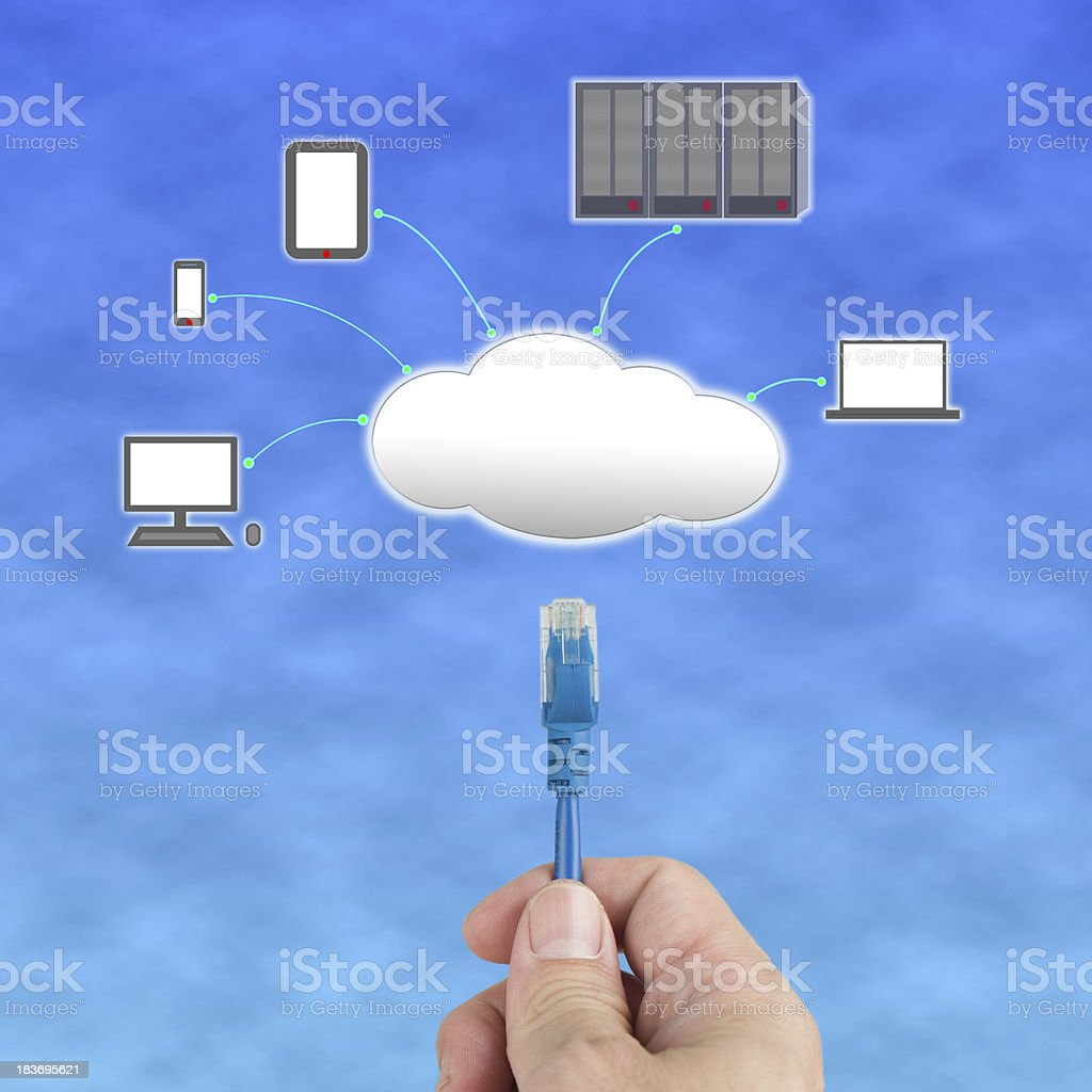 People hold Network cable connect to cloud computing server royalty-free stock photo