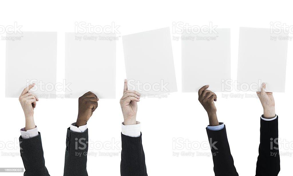 People holding blank billboards stock photo