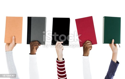 People holding assorted books isolated on white