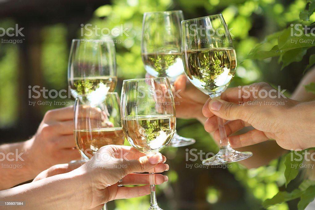 People holding glasses of white wine making a toast royalty-free stock photo
