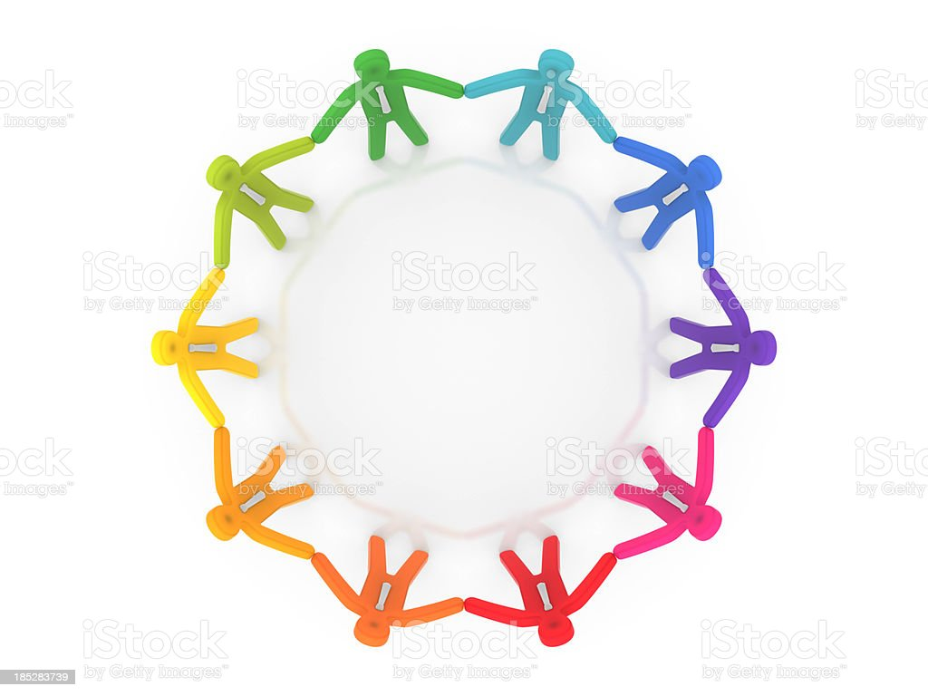 People holding hands stand in circle stock photo