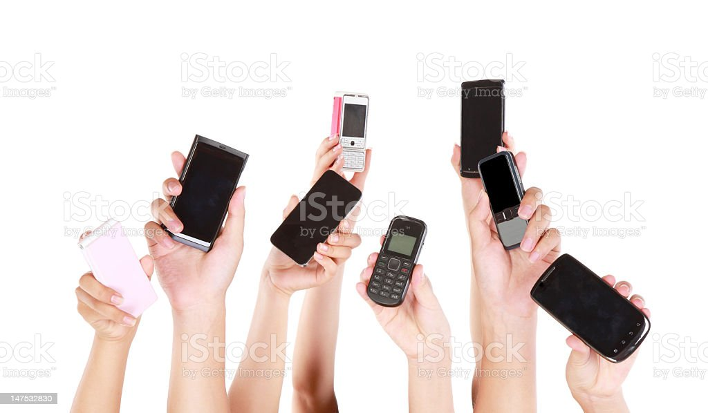People holding mobile sharing on the net-XXL royalty-free stock photo