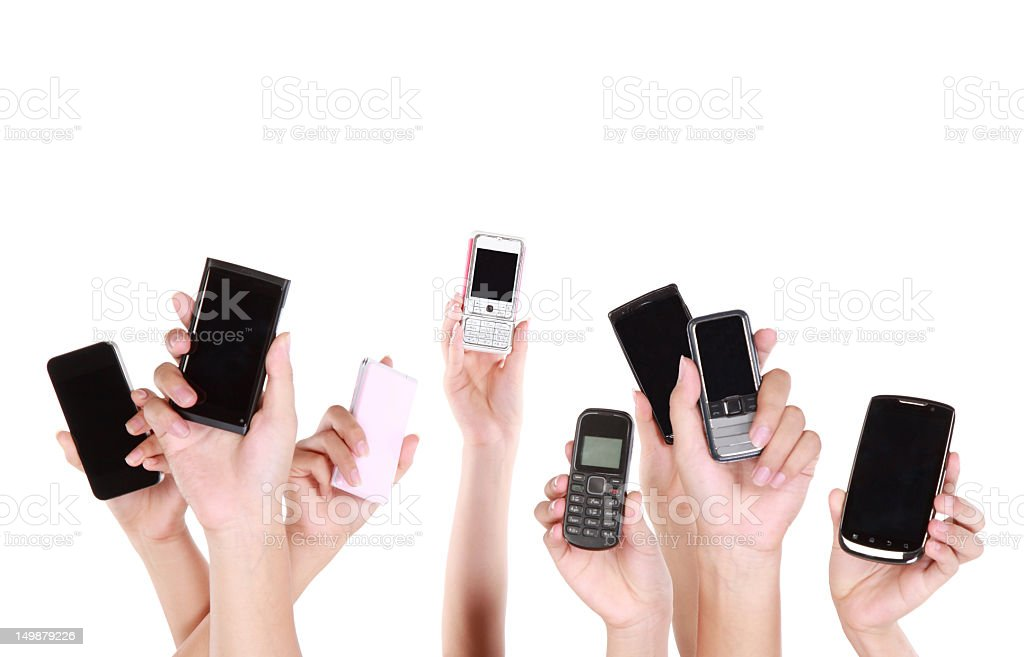 people holding mobile sharing on the net-XXL stock photo