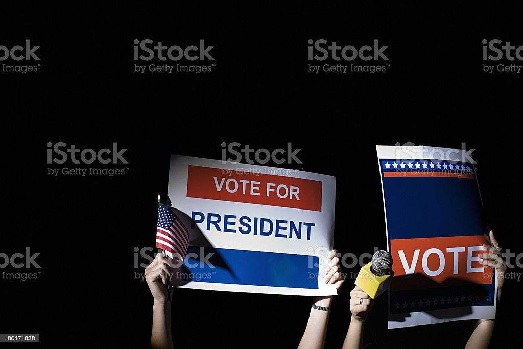 People holding posters royalty-free stock photo