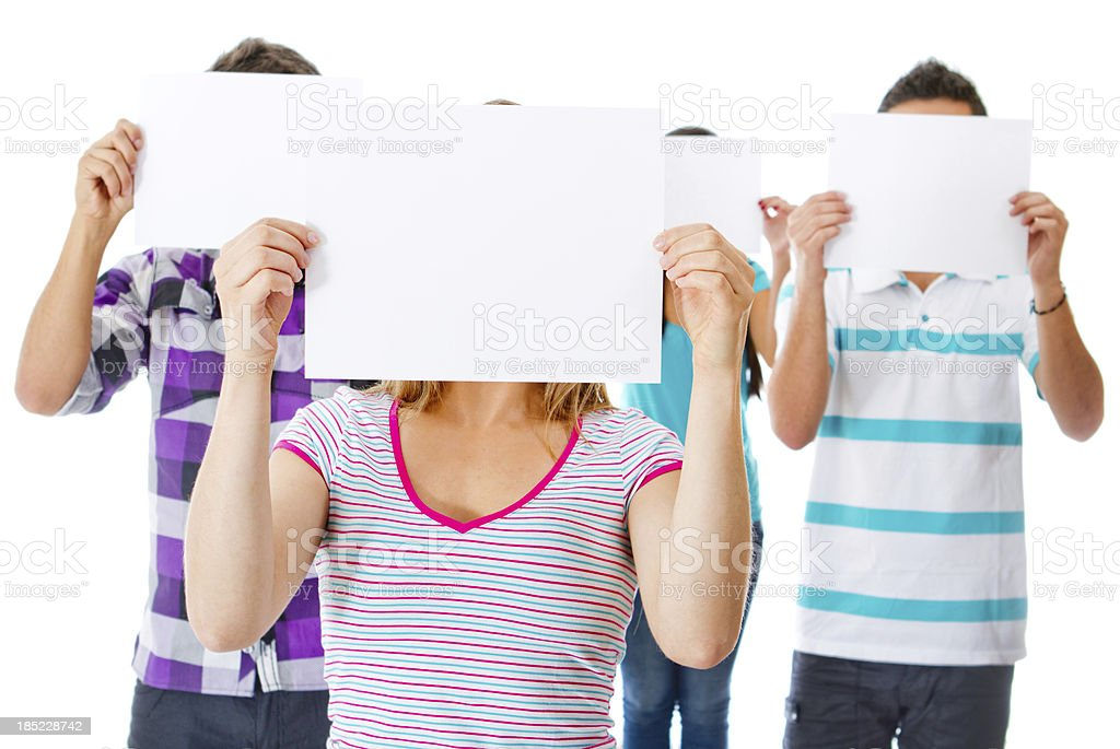People holding sheets royalty-free stock photo