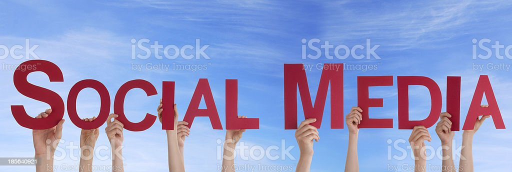 People Holding Social Media royalty-free stock photo
