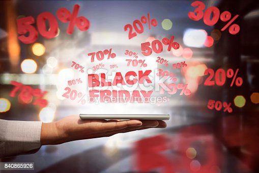 istock People holding tablet and showing special sale on Black Friday 840865926