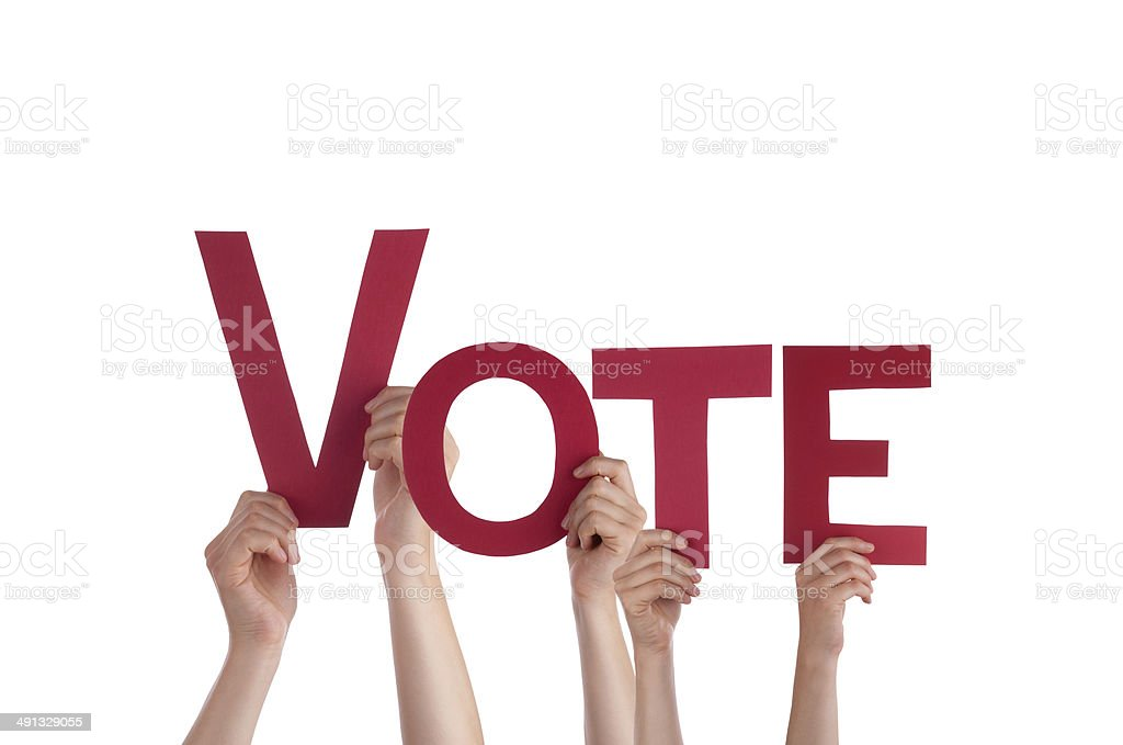 People Holding Vote stock photo