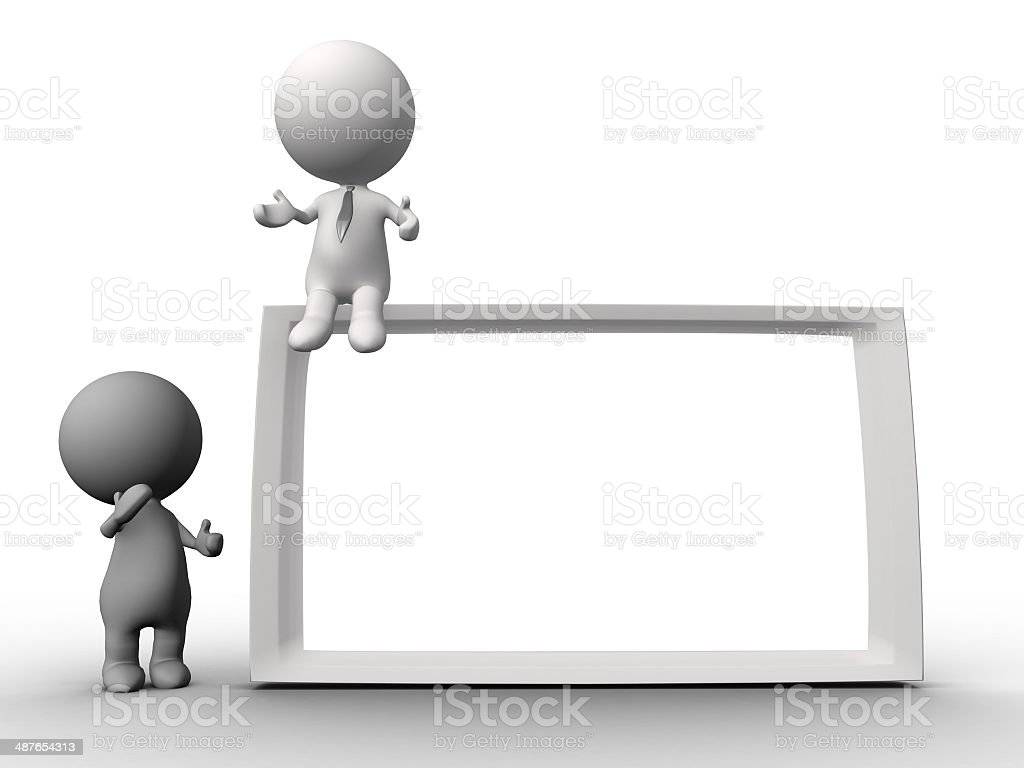 people human character holding a board stock photo
