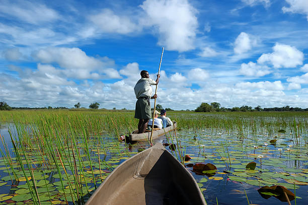 People in a boat in the Mokoro stock photo