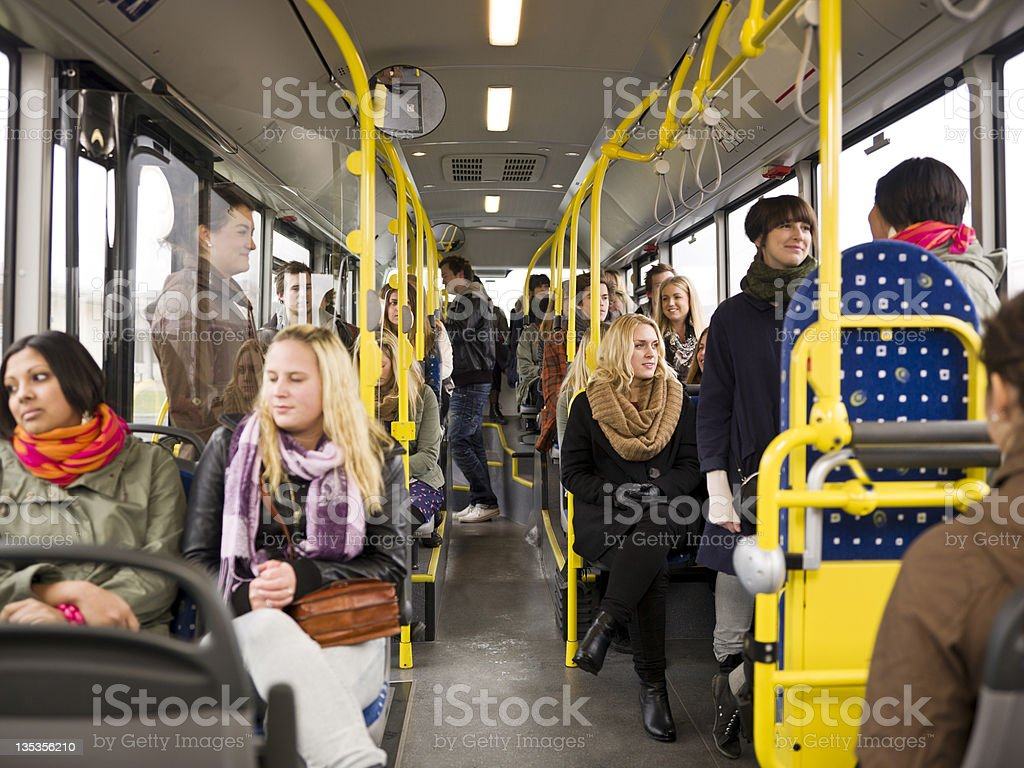 People in a bus royalty-free stock photo