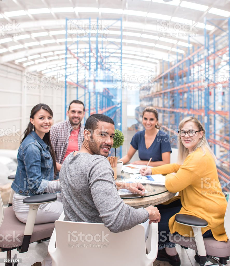 People in a business meeting at a creative office stock photo