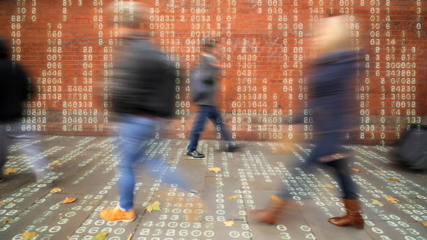 People in a data matrix world. stock photo