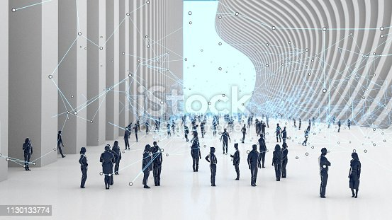 3d render of a crowd of low poly people in a modern urban setting, particle links representing communication