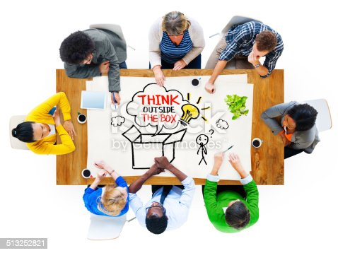istock People in a Meeting and Thinking Outside the Box Sayings 513252821