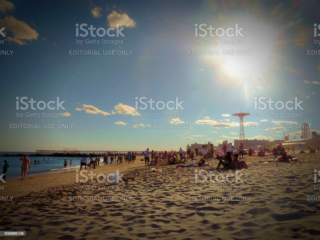 People in a summer afternoon day in Coney Island beach stock photo