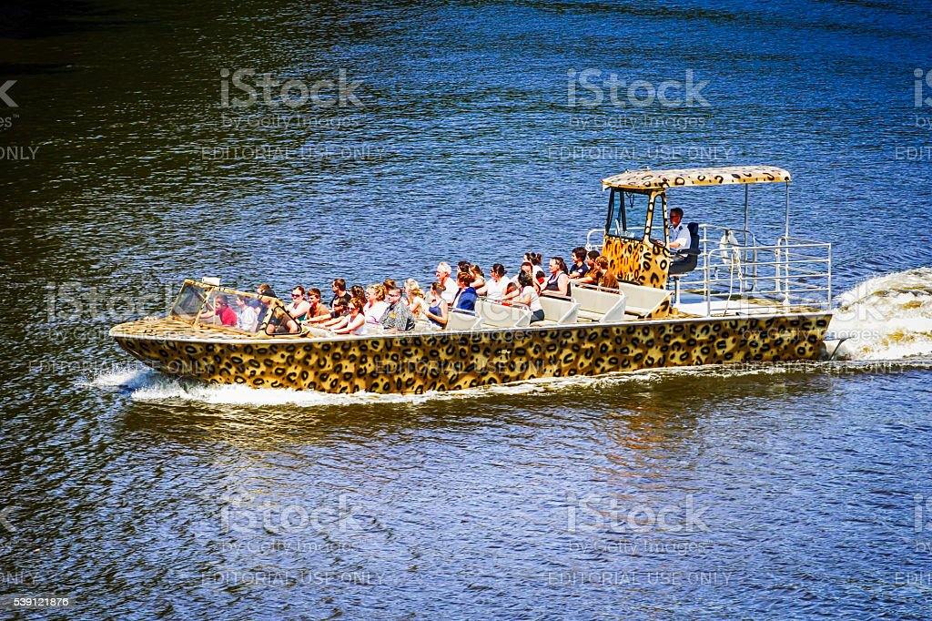 People in a tourist speedboat on the Wisconsin River stock photo