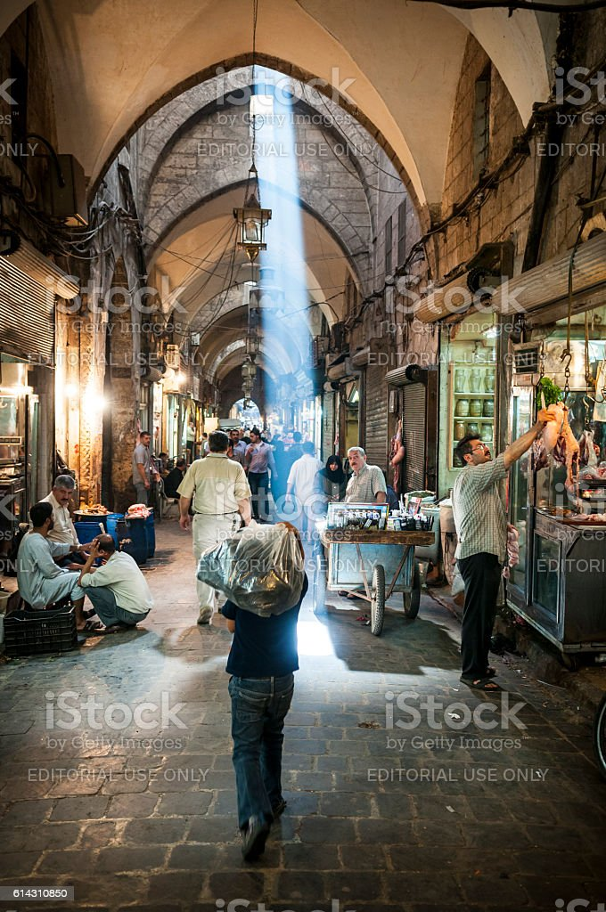 People in Aleppo, Syria stock photo