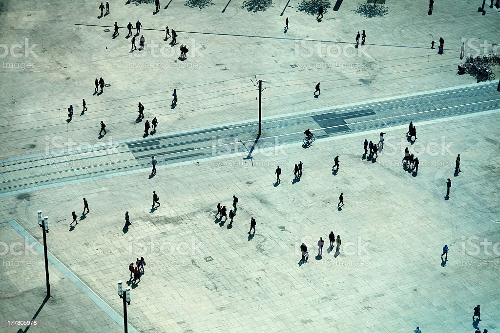 People in Alexanderplatz, Berlin stock photo