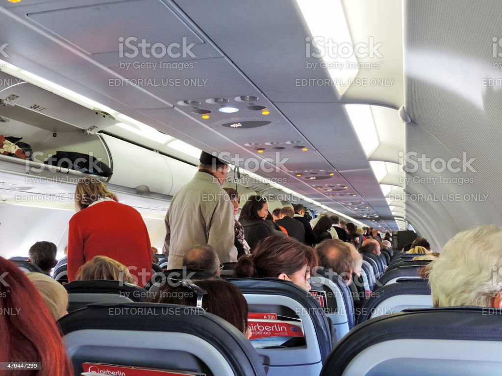 People in an airplane stock photo