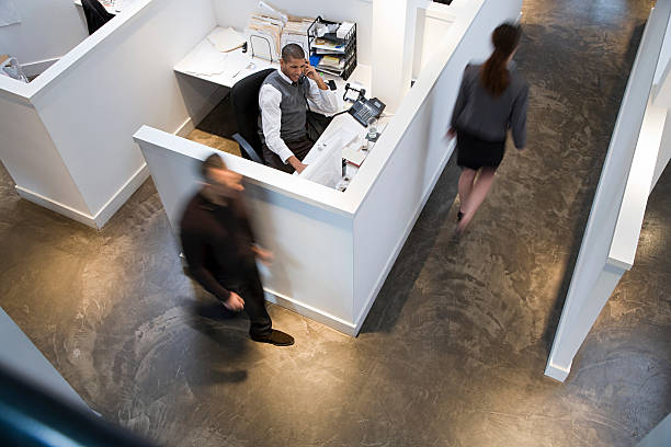 people in an office - office cubicle stock pictures, royalty-free photos & images
