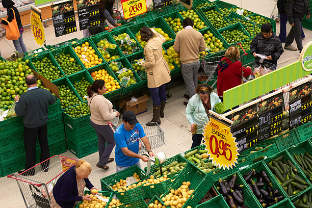 People In An Open Market Stall, Sao Paulo stock photo