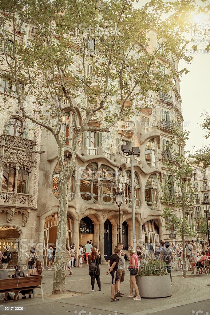 People in Barcelona center - Spain stock photo