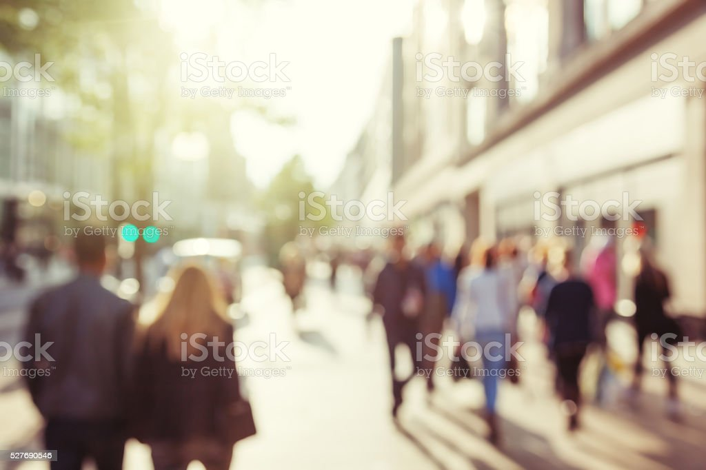people in bokeh, street of London stock photo