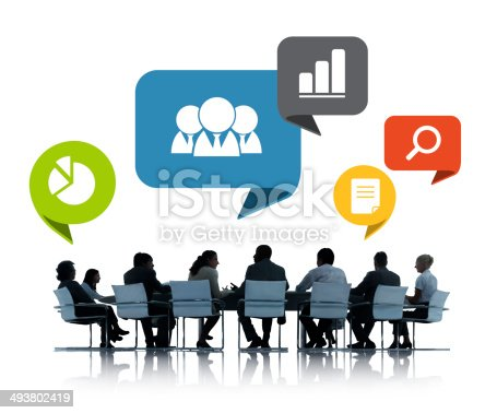 812513444 istock photo People in business meeting with office icons above 493802419