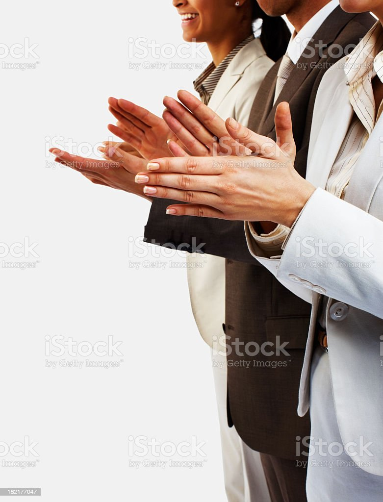 People in business suits clapping stock photo